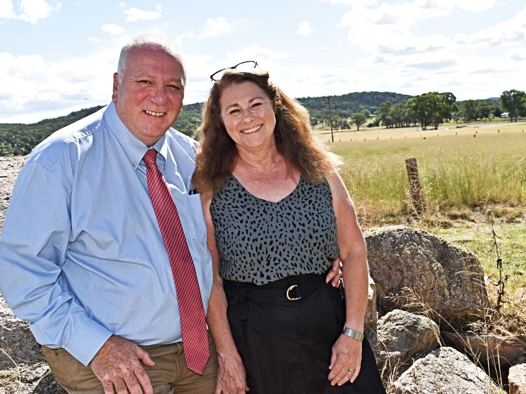 New mayor Vic Pennisi with his wife Sharon at their Stanthorpe property. Picture: Matthew Purcell