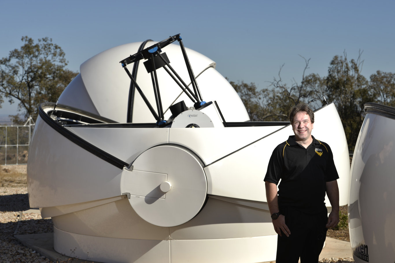 Professor Jonti Horner is happy construction is complete on the Minerva Australis array of telescopes at USQ's Mt Kent observatory, Tuesday, July 23, 2019.