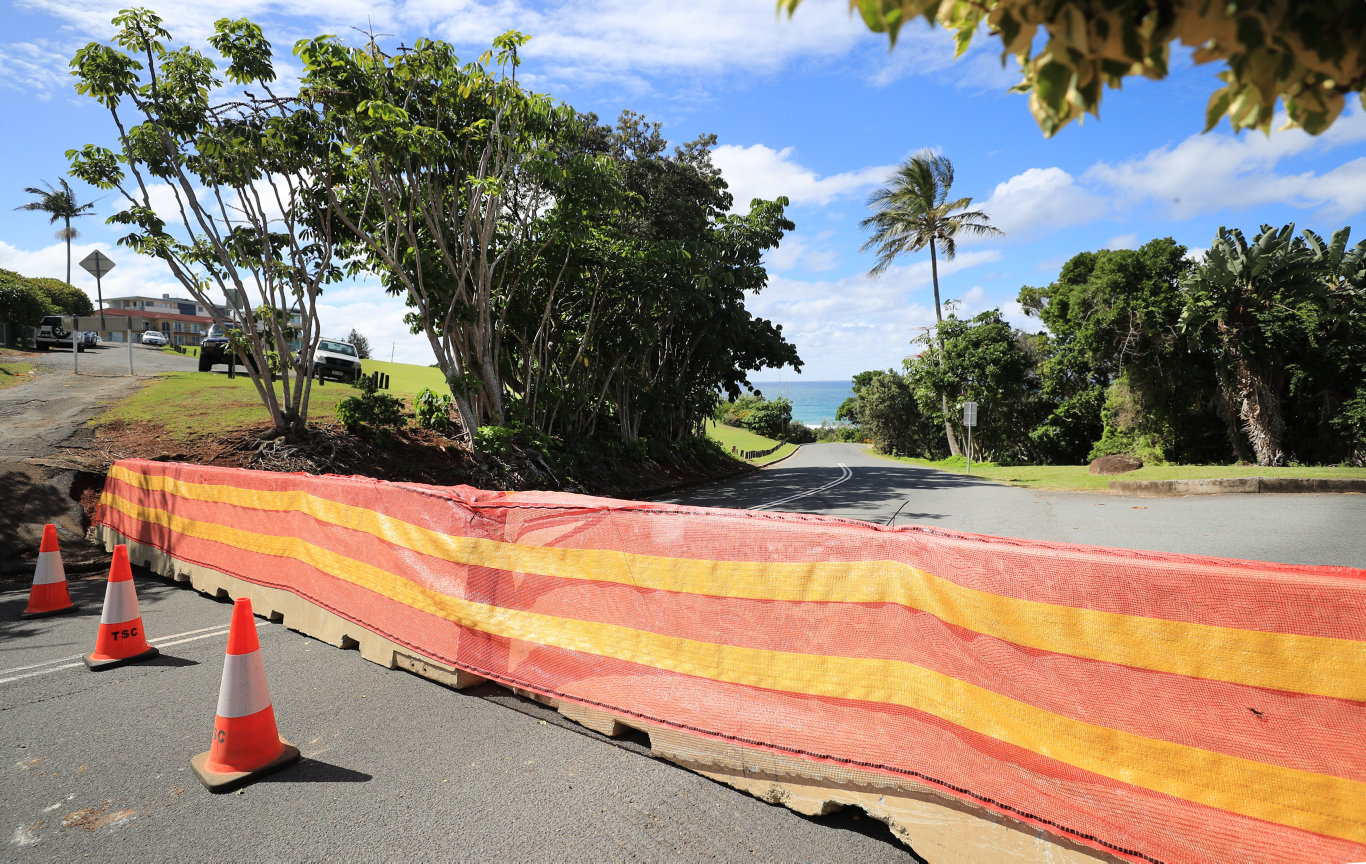 All entries to Duranbah Beach Tweed Heads have been blocked by Tweed Shire Council with concrete barriers closing all carparks around the beach.Photo: Scott Powick Newscorp