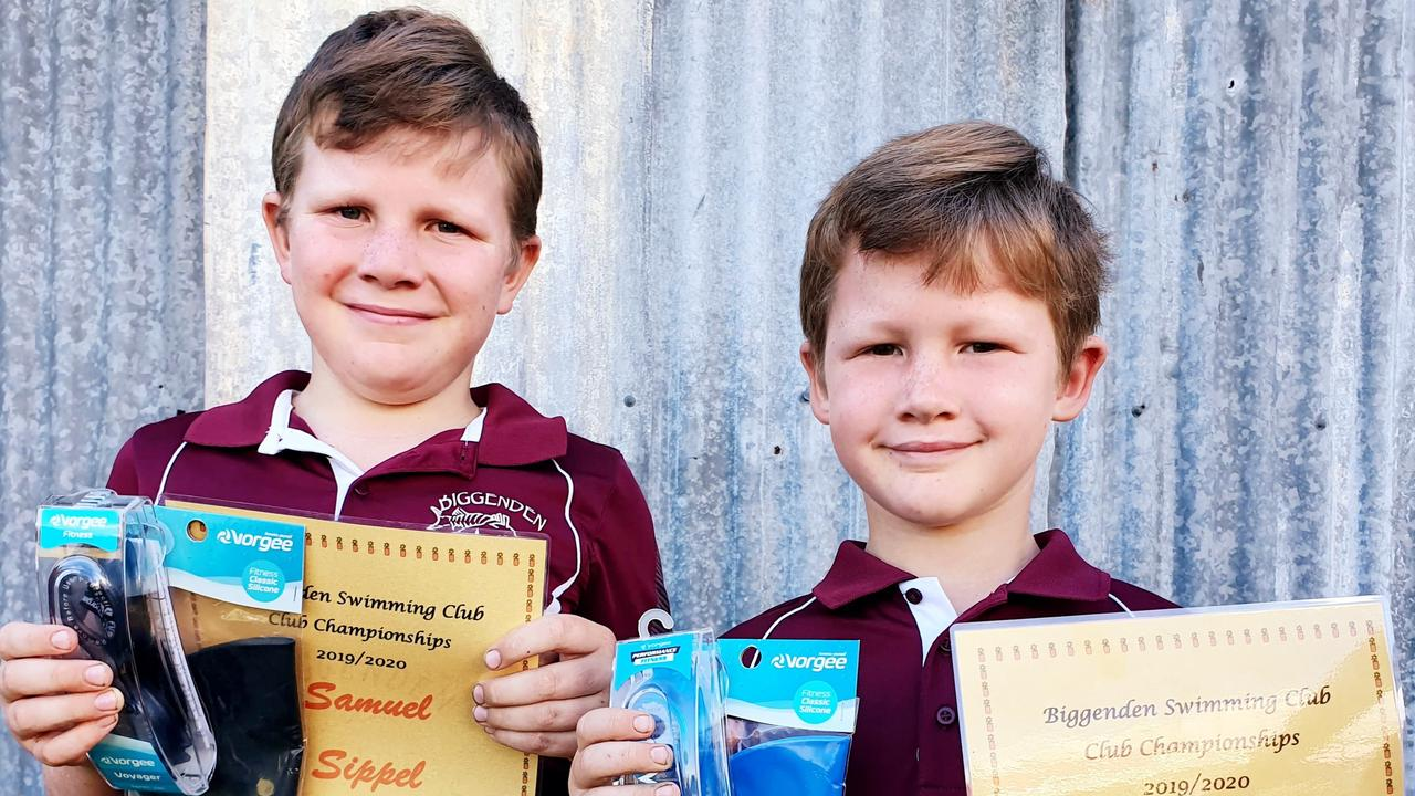 WELL DONE: Samuel and Cameron Sippel with their age champions prizes.