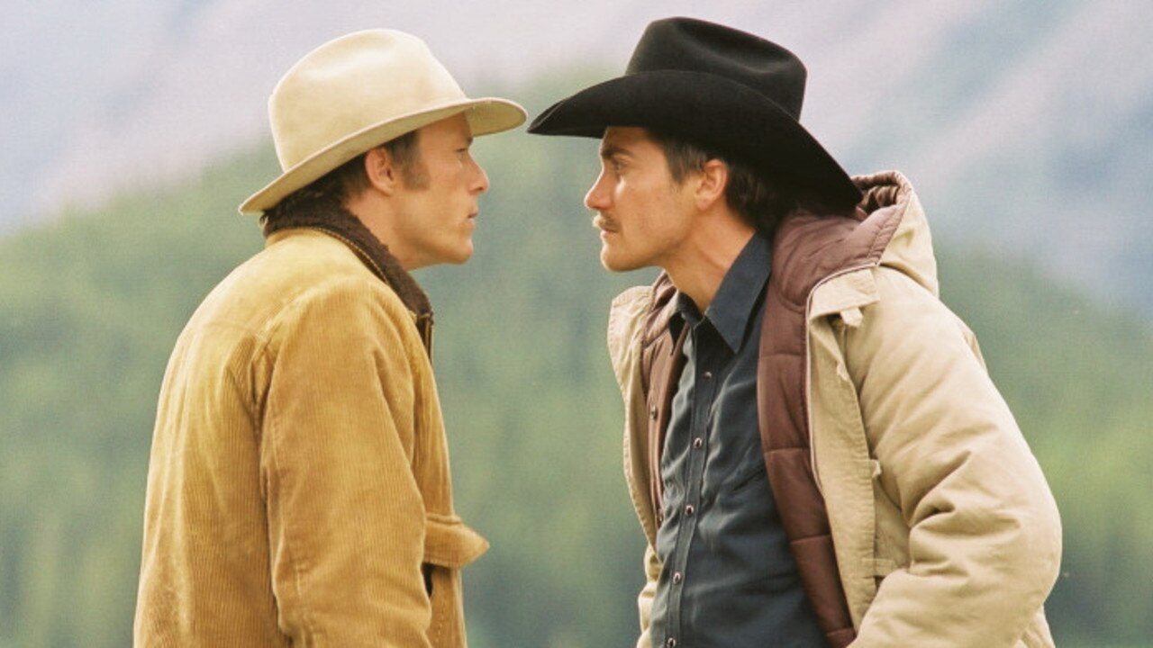 The actors in a scene from 2005 film Brokeback Mountain.