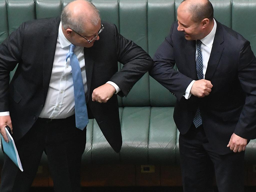 Prime Minister Scott Morrison with Treasurer Josh Frydenberg. Picture: Getty Images