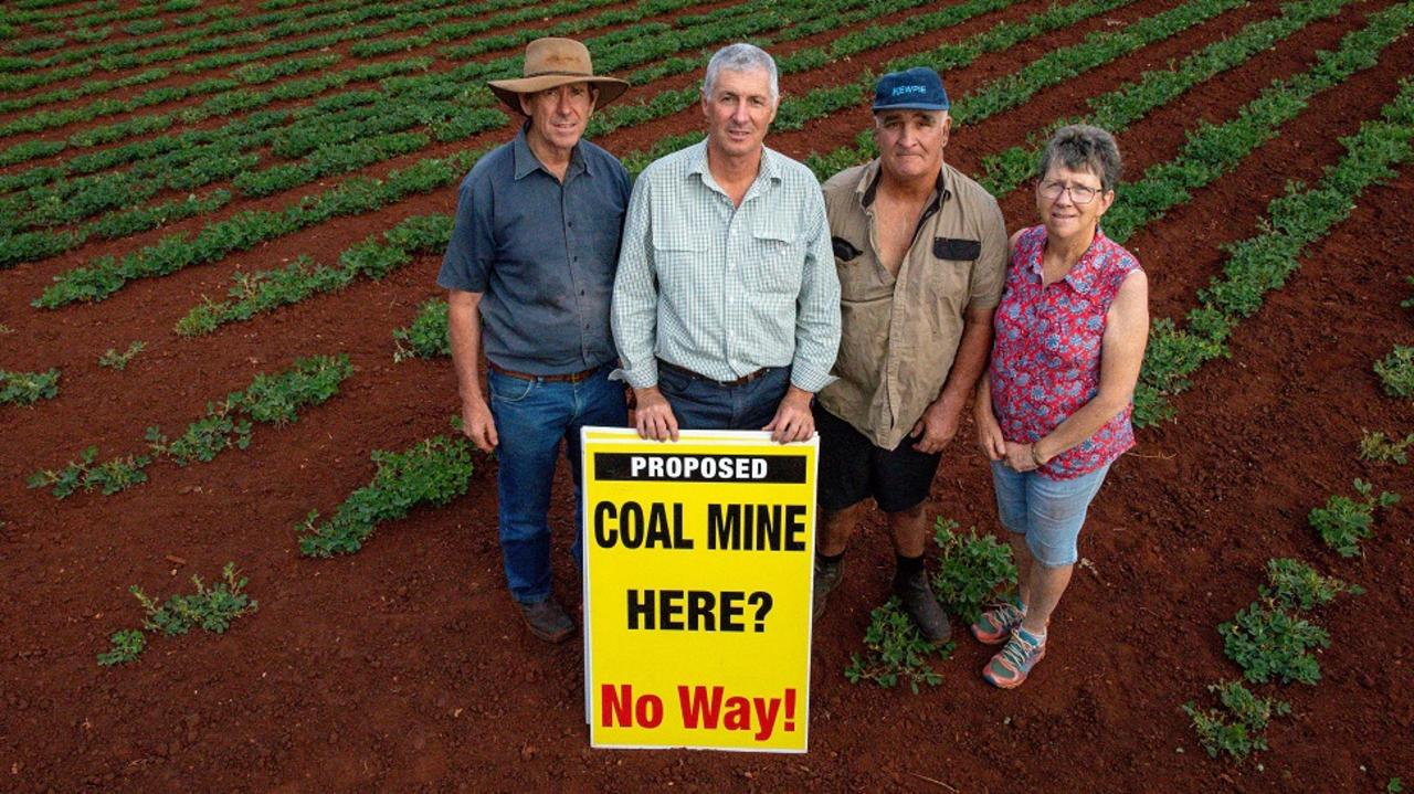 HALF-VICTORY: Kingaroy Concerned Citizens Group members Damien O'Sullivan, John Dalton, Gary Tessman, and Marilyn Stephens aren't ready to celebrate their fight to preserve farming land which had been earmarked for a coal mine. (Photo: Contributed)