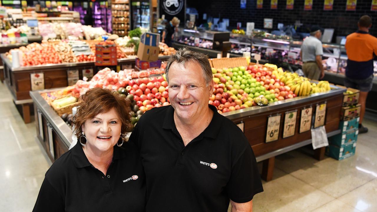 Owners of Whites IGA, Bli Bli, Roz and Michael White. Photo Patrick Woods / Sunshine Coast Daily.