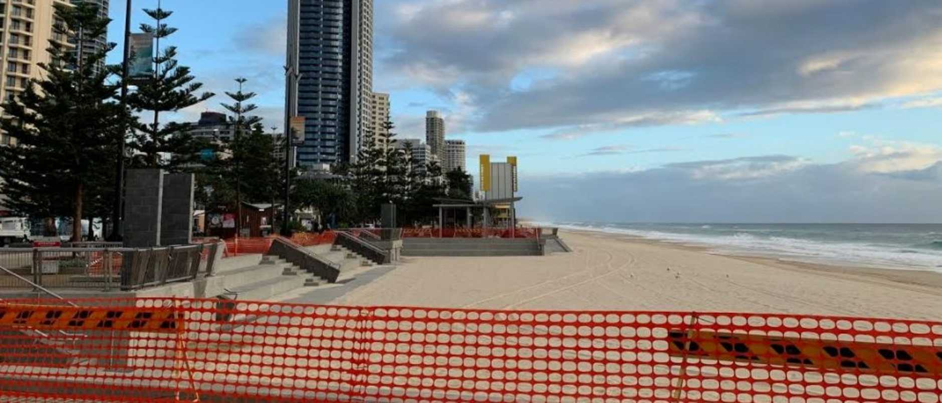 An empty Surfers Paradise beach after coronavirus shutdown. Picture: Greg Stolz