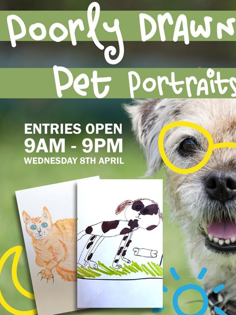 PET PORTRAITS: RSPCA Qld staff will be drawing portraits of pets all day for a small $10 donation per 'pawtrait'. (Picture: Contributed)