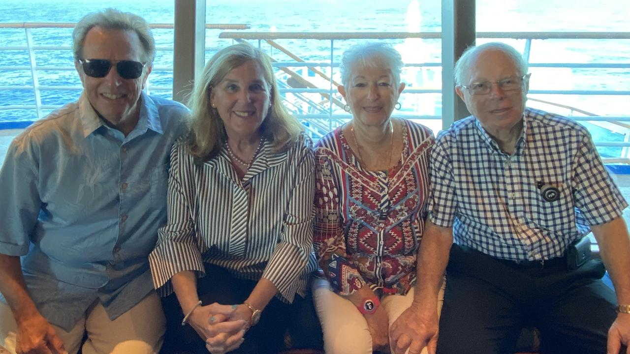 Rona and Michael Dobrin with American friends Bert and Harriet Reitman (left) from Florida onboard the Ruby Princess. Harriet also contracted COVID-19.