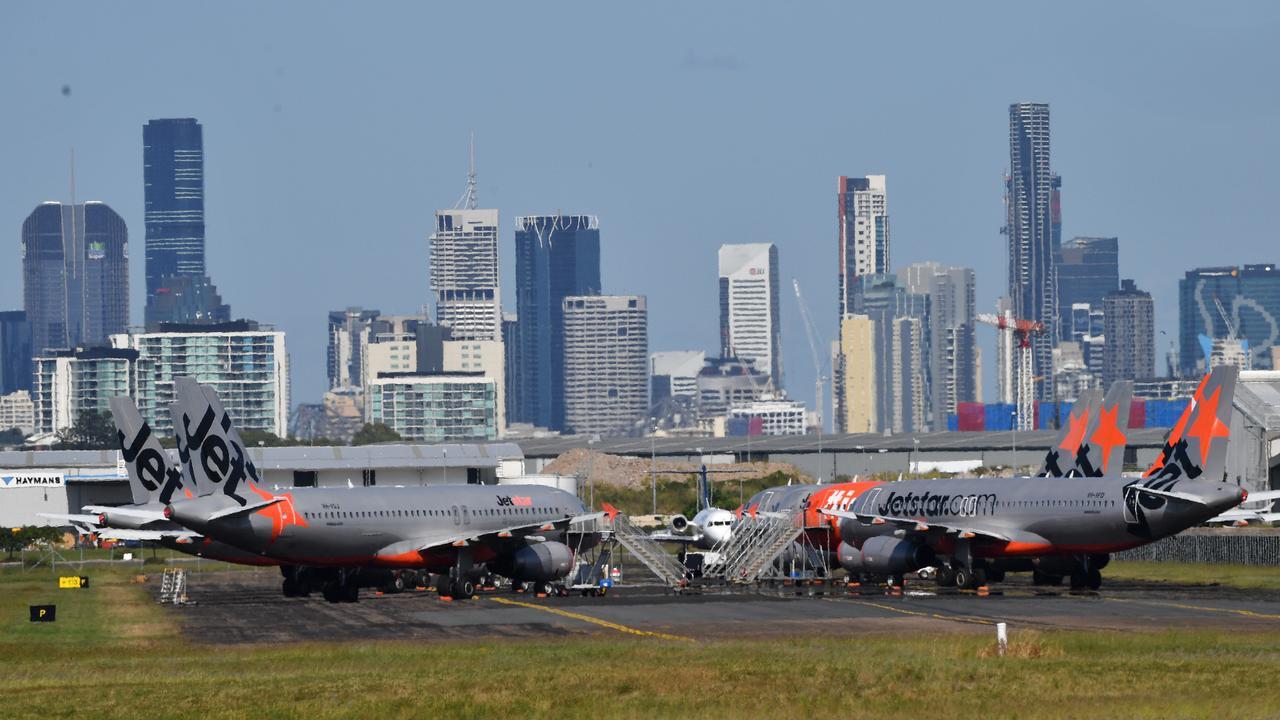 Grounded Jetstar Airways aircraft. Picture: Darren England