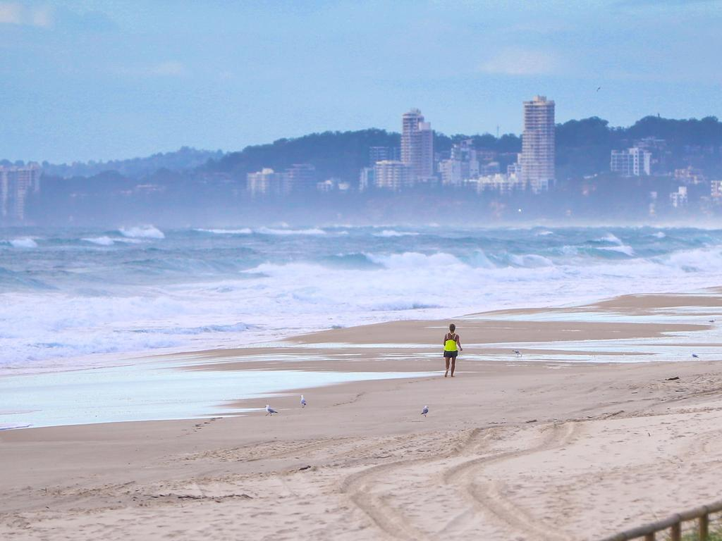 Beach closures due to people not social distancing on the Gold Coast. Picture: Nigel Hallett