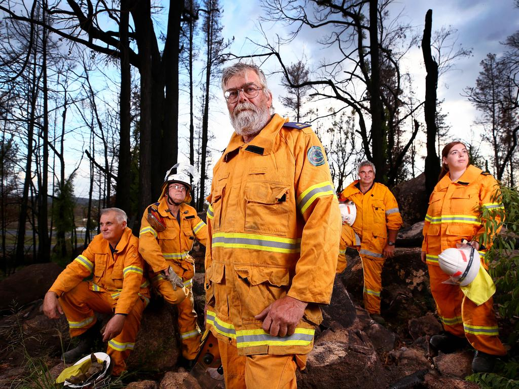 Volunteers from the Sugarloaf Rural Fire Brigade Eric McCulloch, Garry Tutt, Gary Kelley, Allan Unold and Lauren Kelley.
