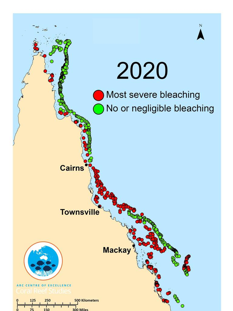 A map of the 2020 coral bleaching event with the most affected areas highlighted in red. Photo: ARC Centre of Excellence for Coral Reef Studies.