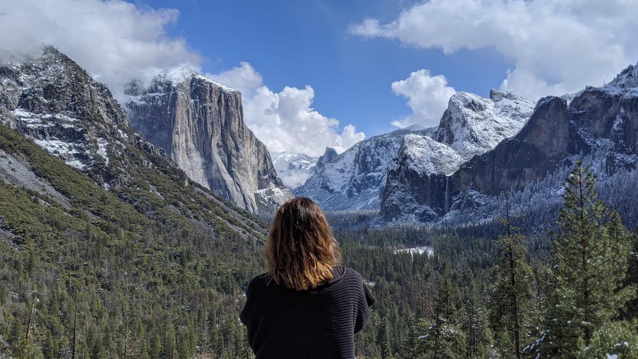 NATURAL BEAUTY: Clare Goodfellow admires Yosemite National Park in California, USA. Photo: Mitchell Keenan