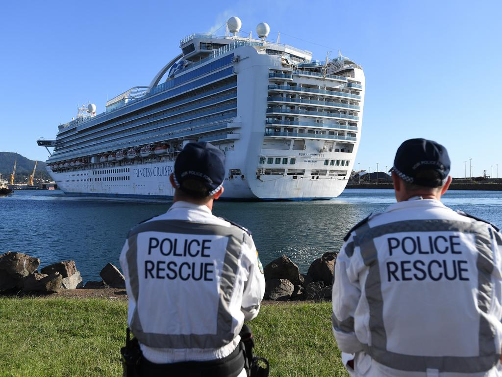 The Ruby Princess, with crew only onboard, docking at Port Kembla, Wollongong. A criminal investigation has been launched into how cruise line operator Carnival Australia was allowed to disembark passengers in Sydney. Picture: AAP