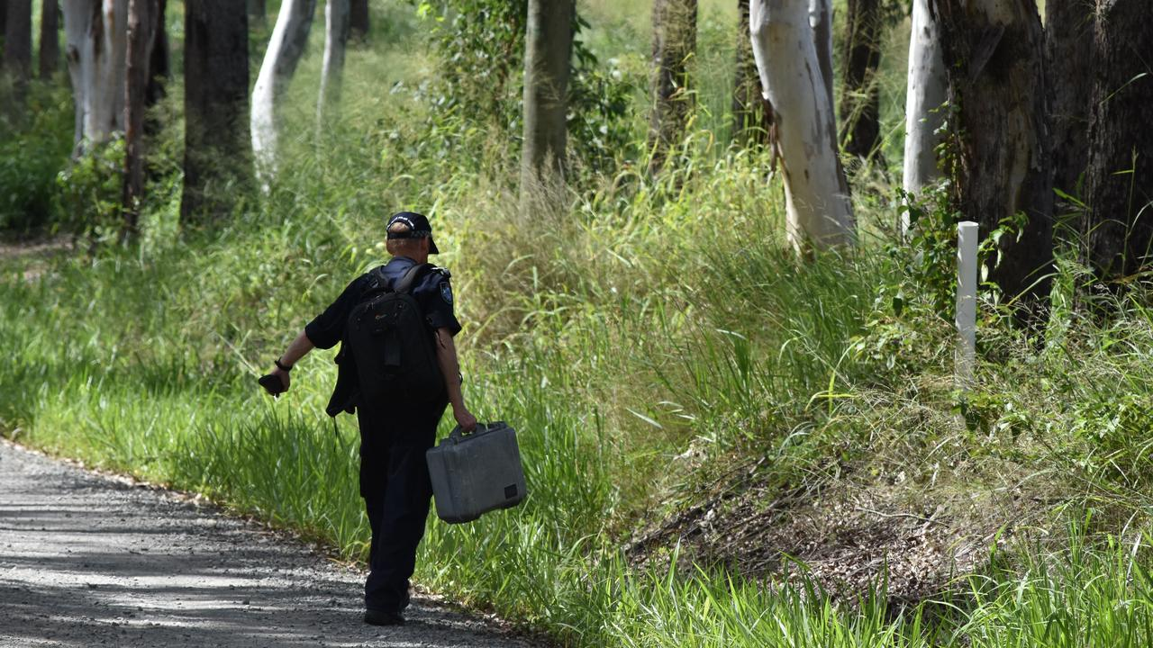Police comb bushland near the Frayne Rd property where Michael Zanco was shot dead.