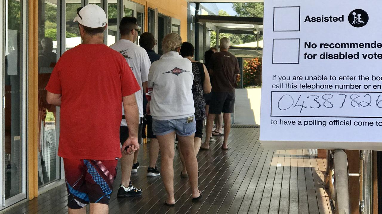 The vote count has slowed to a halt. Pictured is the Sunshine Coast local government elections at Mountain Creek Primary School on March 28.