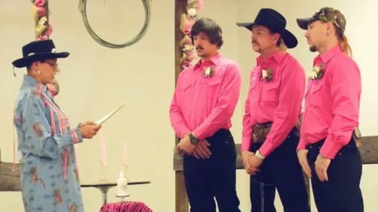 Joe Exotic (second from right) during his wedding to Travis Maldonado and John Finlay. Picture: Netflix