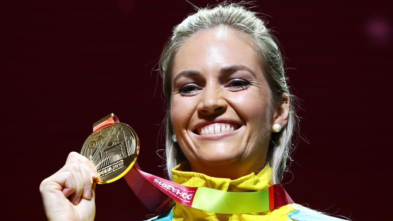 DOHA, QATAR - OCTOBER 02: Gold medalist Kelsey-Lee Barber of Australia stands on the podium during the medal ceremony for the Women's Javelin final during day six of 17th IAAF World Athletics Championships Doha 2019 at Khalifa International Stadium on October 02, 2019 in Doha, Qatar. (Photo by Michael Steele/Getty Images)