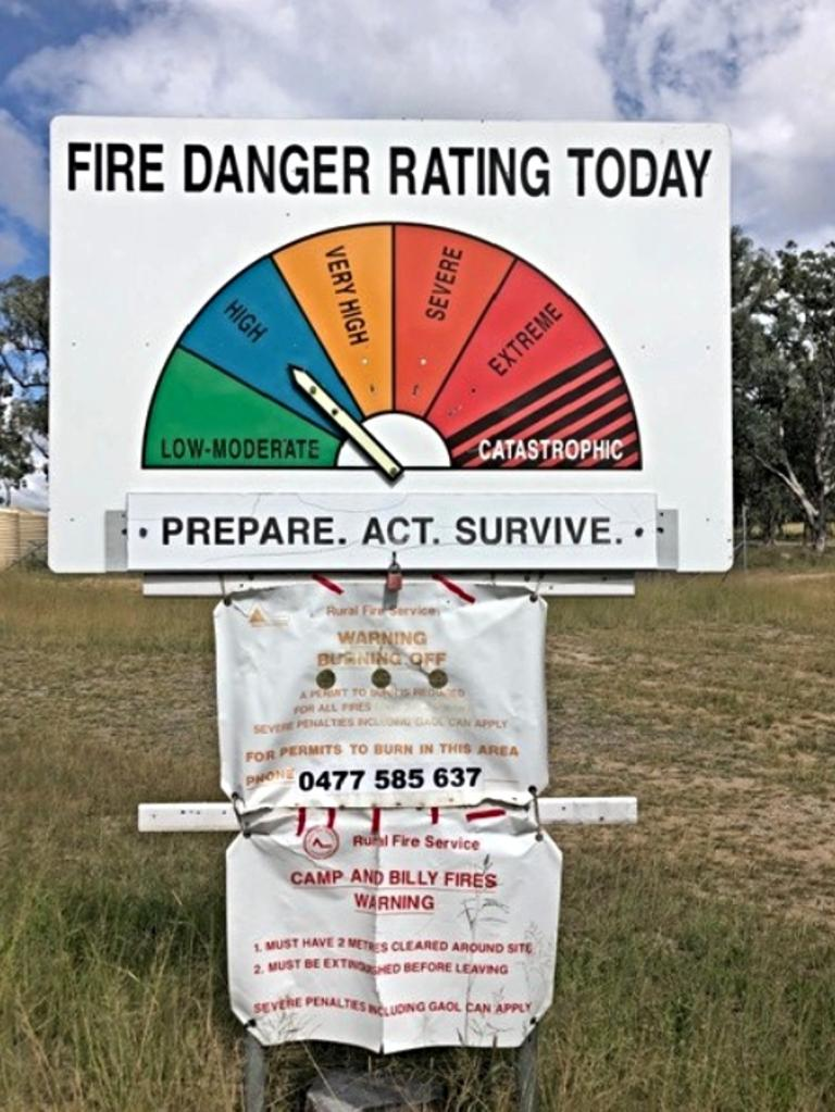 The fire danger rating was changed on Wednesday.