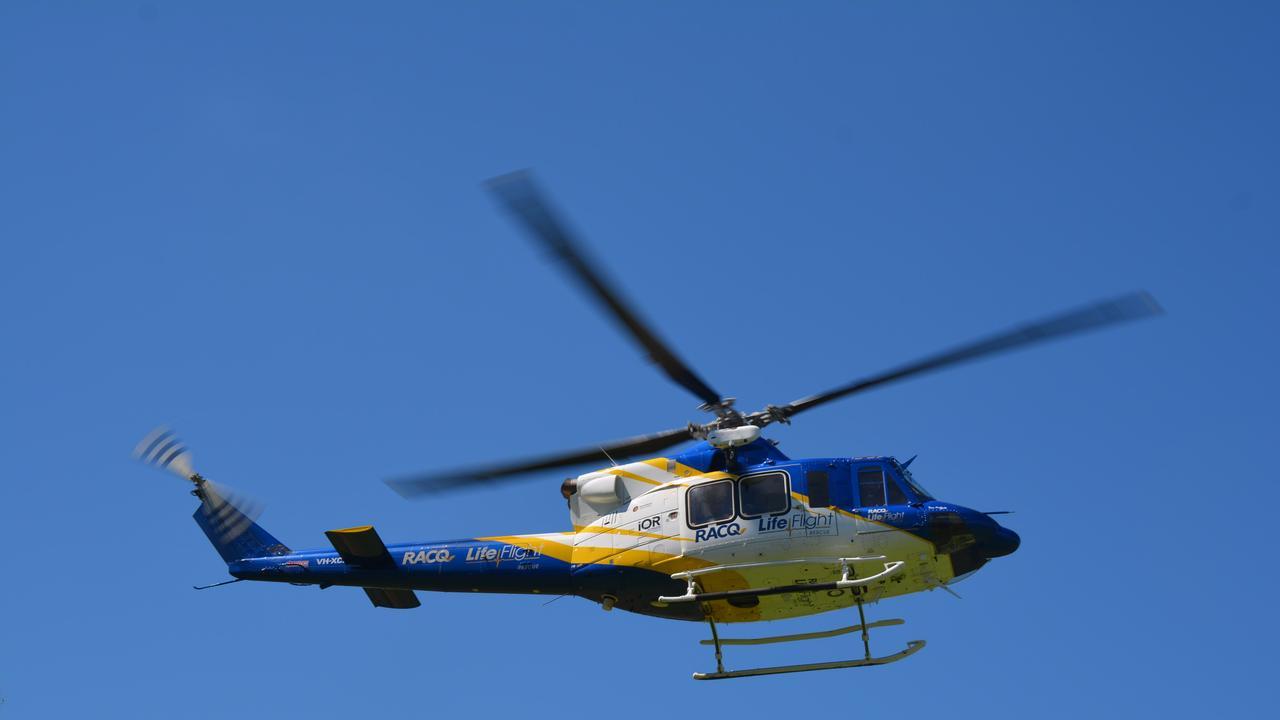 The RACQ LifeFlight helicotper.