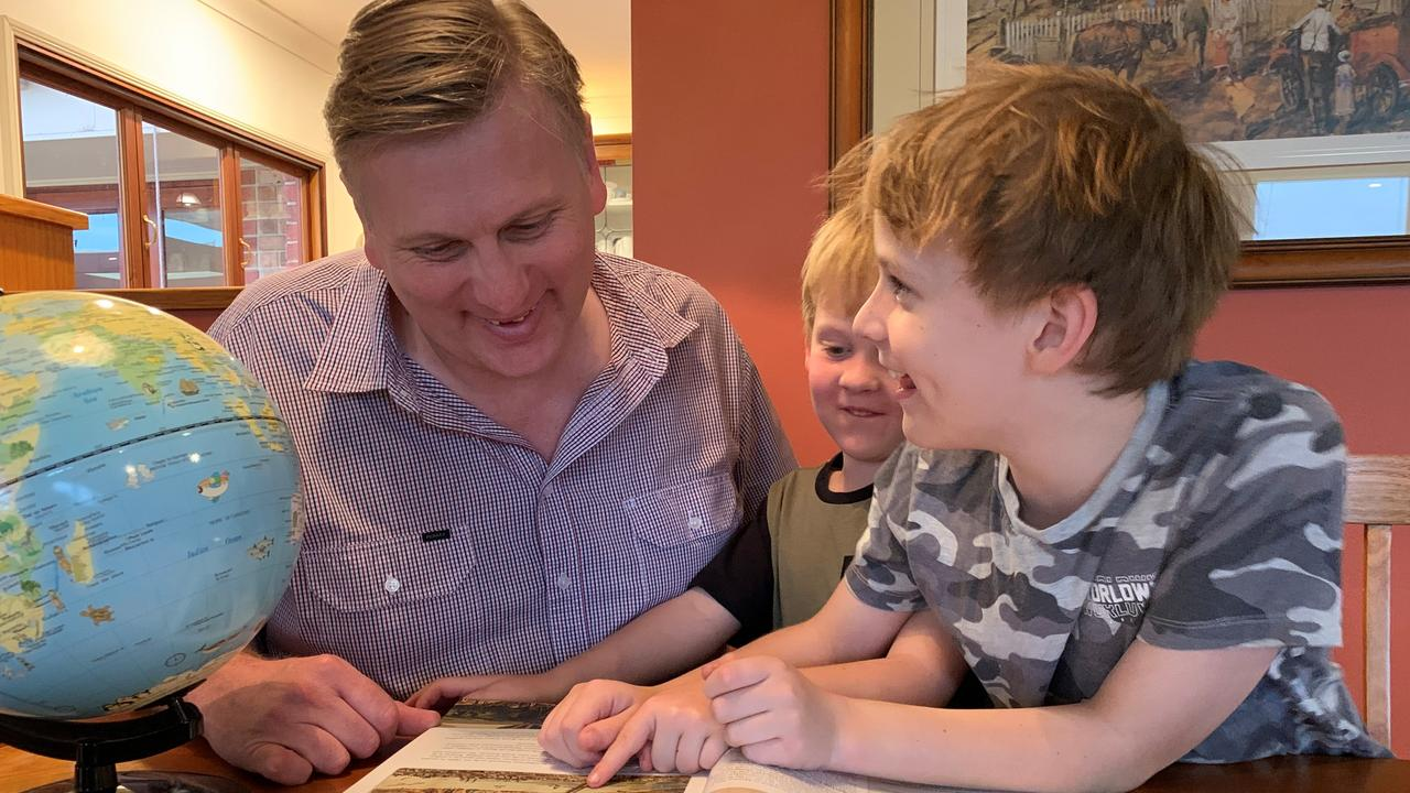 HOMEBOUND: Working from home has allowed Southern Downs MP James Lister to spend more time helping his wife Belinda with the homeschooling of their two sons Jeremy and William.