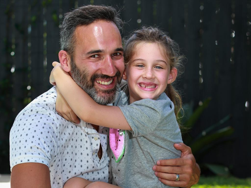 Alex Ryvchin with his daughter Lilah from Dover Heights in Sydney. Picture: Justin Lloyd
