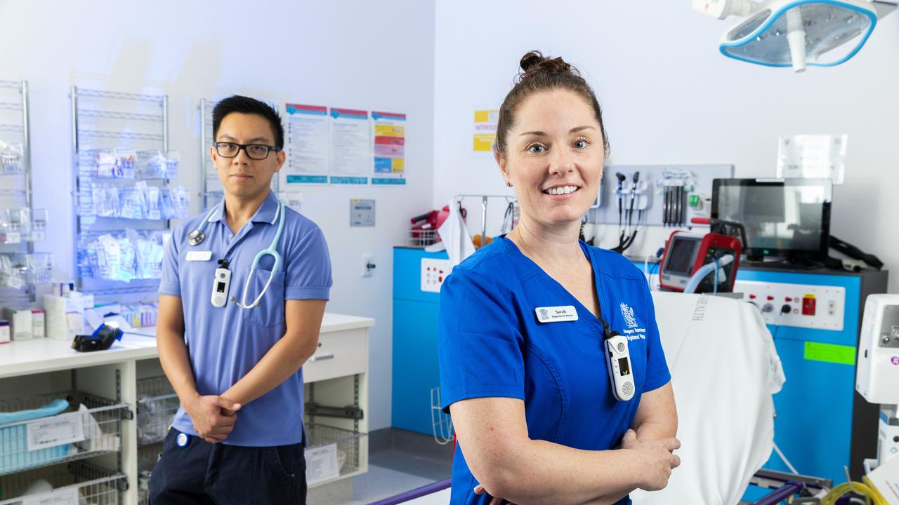 Registered Nurses Romnick De Los Ama, 29 and Sarah Richards, 35 at Logan Hospital. Picture: Richard Walker