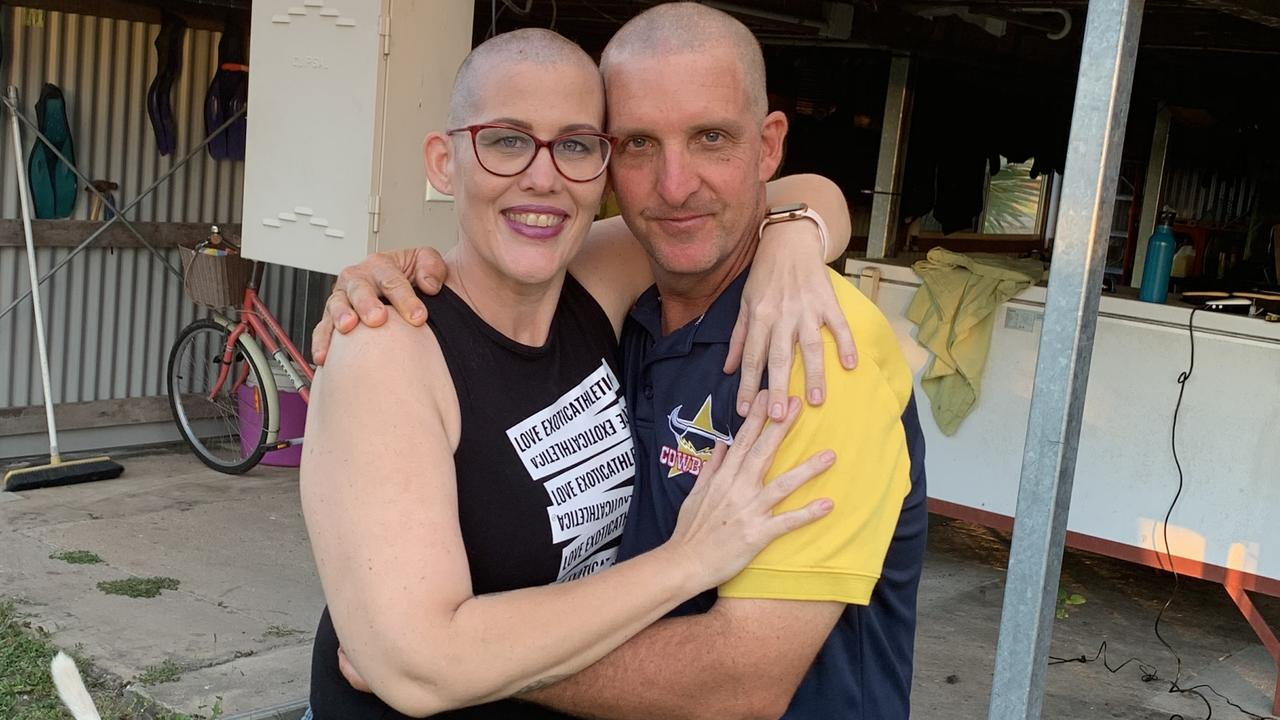 Sheridan and Marc Faletti who shaved their head to honour Marc's mother Sandra Faletti.