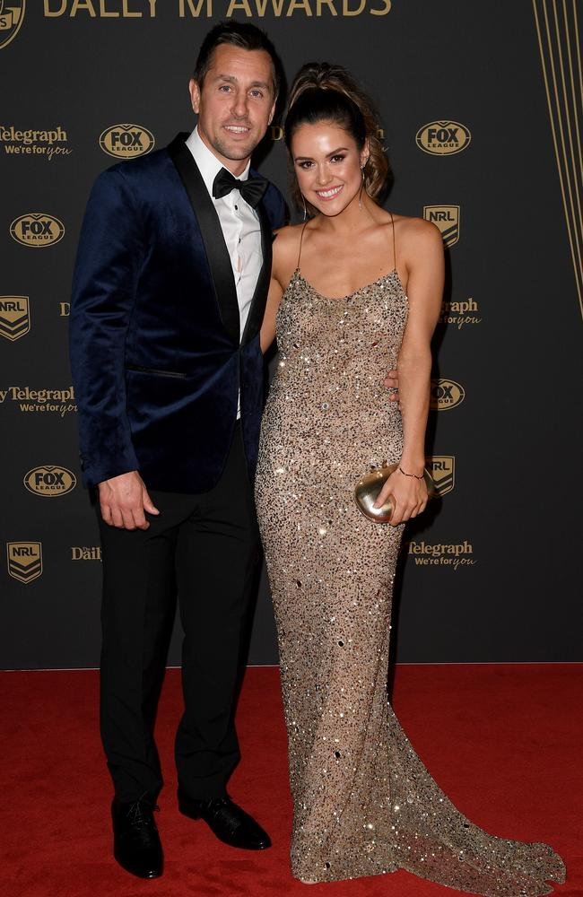 Mitchell Pearce and Kristin Scott at last year's Dally M Awards. Picture: AAP