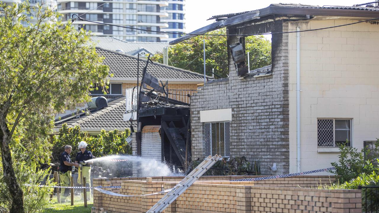 The scene of a unit block fire at Biggera Waters. Picture: Nigel Hallett