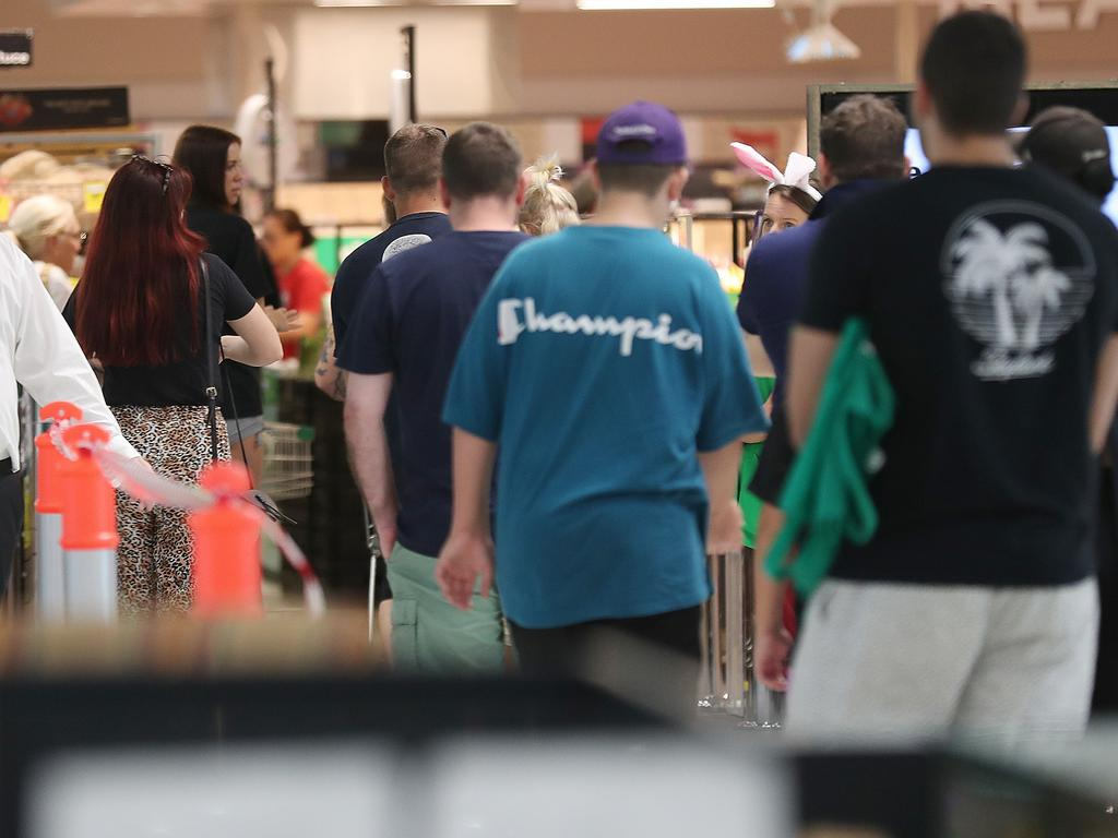 Shoppers pack in to Woolworths Skygate yesterday. Picture: Annette Dew