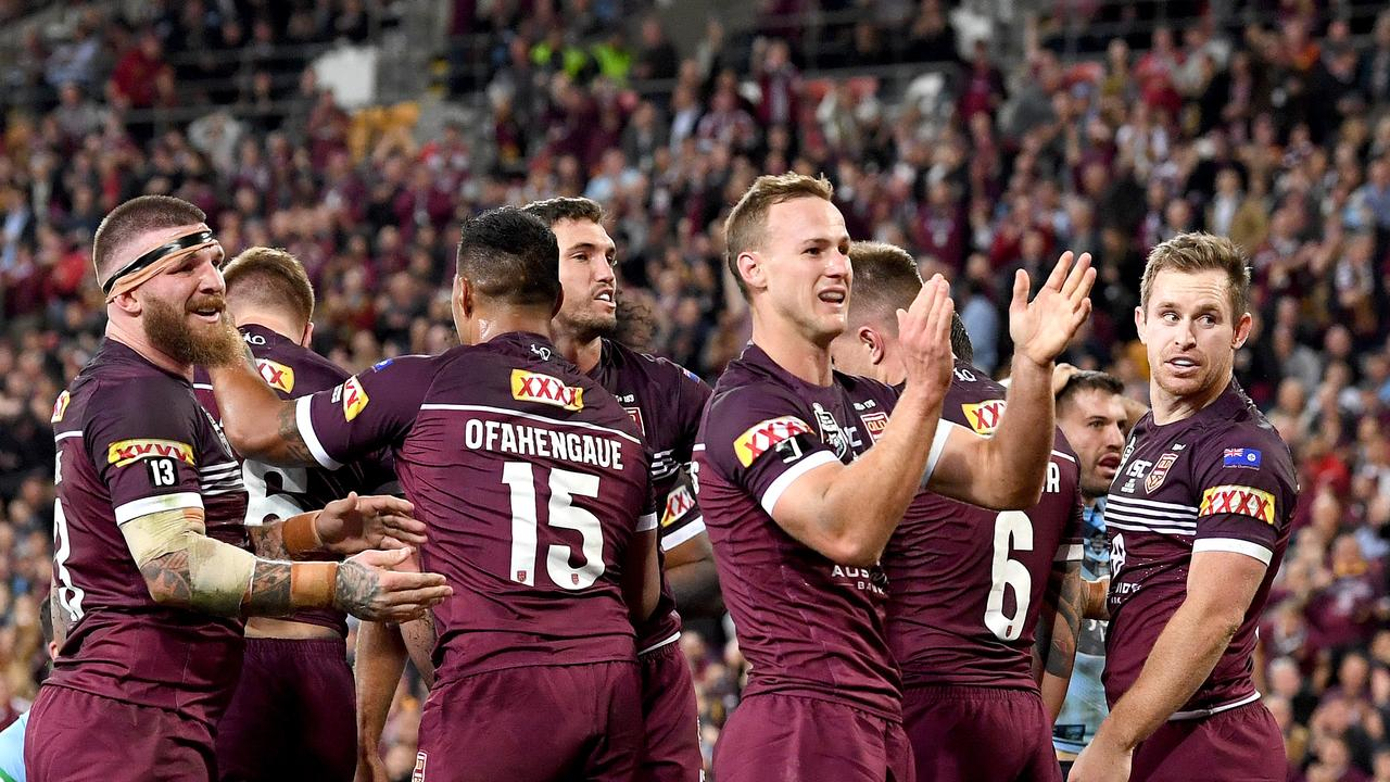 Captain Daly Cherry-Evans celebrates a Queensland try during State of Origin I last year at Suncorp Stadium. Picture: Getty Images