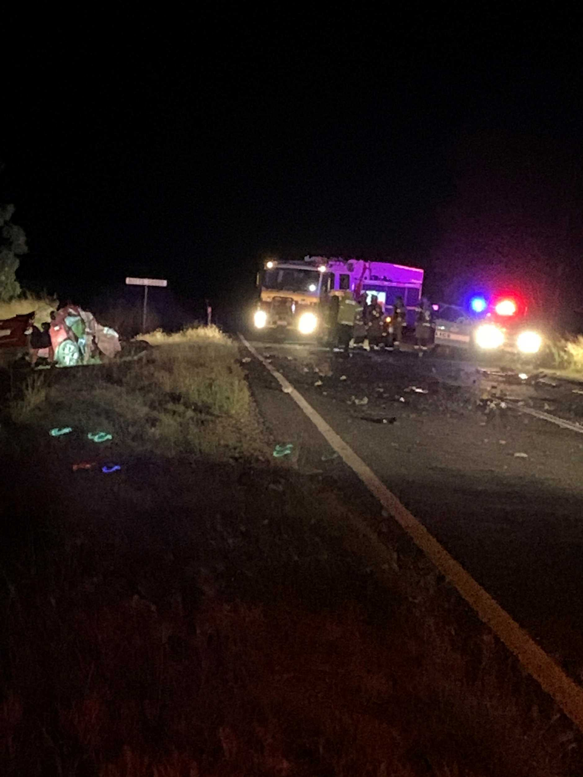 A person has been killed in a head-on collision on the Burnett Highway, south of Ban Ban Springs late this afternoon (April 12, 2020). (Picture: Sam Turner)