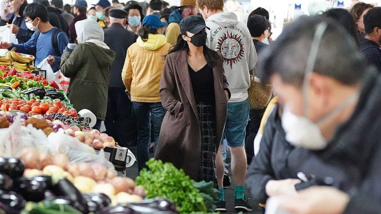 People at the Queen Victoria Market in Melbourne on Saturday morning.