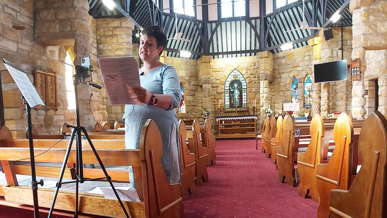 Rev Dr Desiree Snyman live streams the Easter Sunday service at St Bartholomew's Anglican Church in Alstonville.