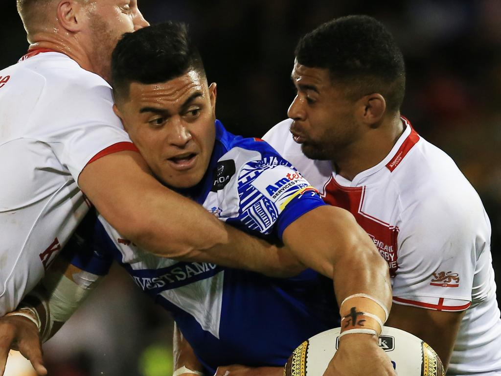 Lafai in action for Samoa against England in 2017. Picture: Mark Evans