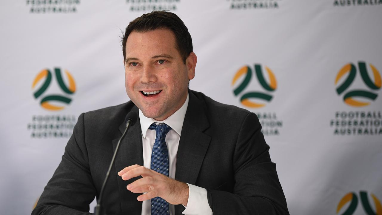 FFA CEO James Johnson speaks to the media in Sydney, Monday, March 16, 2020. (AAP Image/Joel Carrett) NO ARCHIVING