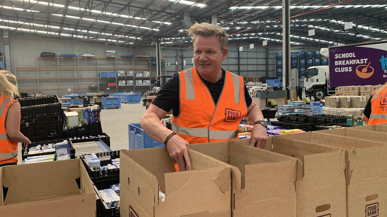 Gordon Ramsay packing hampers at Foodbank Victoria during the bushfire crisis in January.