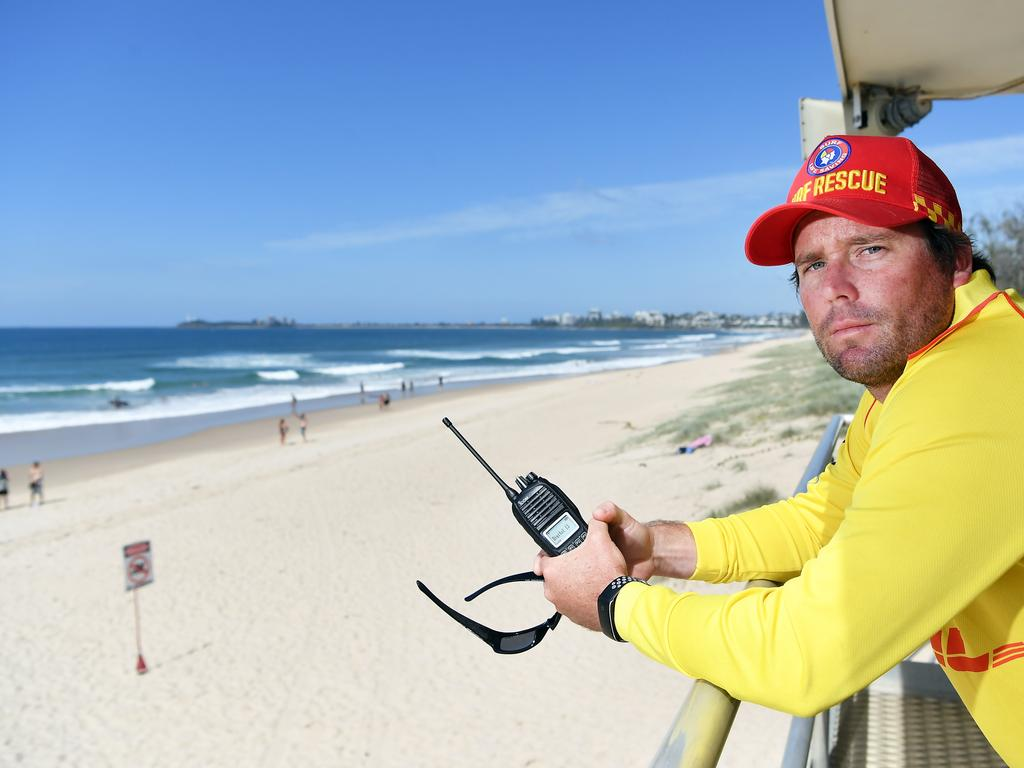 Lifesavers across the Sunshine Coast have expressed concern at being deemed an essential service amid the coronavirus pandemic and feel for their own safety, Pictured is Maroochydore's Josh Moore who said hundreds were in the surf on Saturday. Photo Patrick Woods