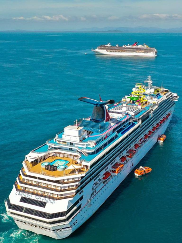Carnival Splendor (foreground) and Spirit about 20 kilometres offshore from Boyne Island. Picture: Aerial Media Gladstone.