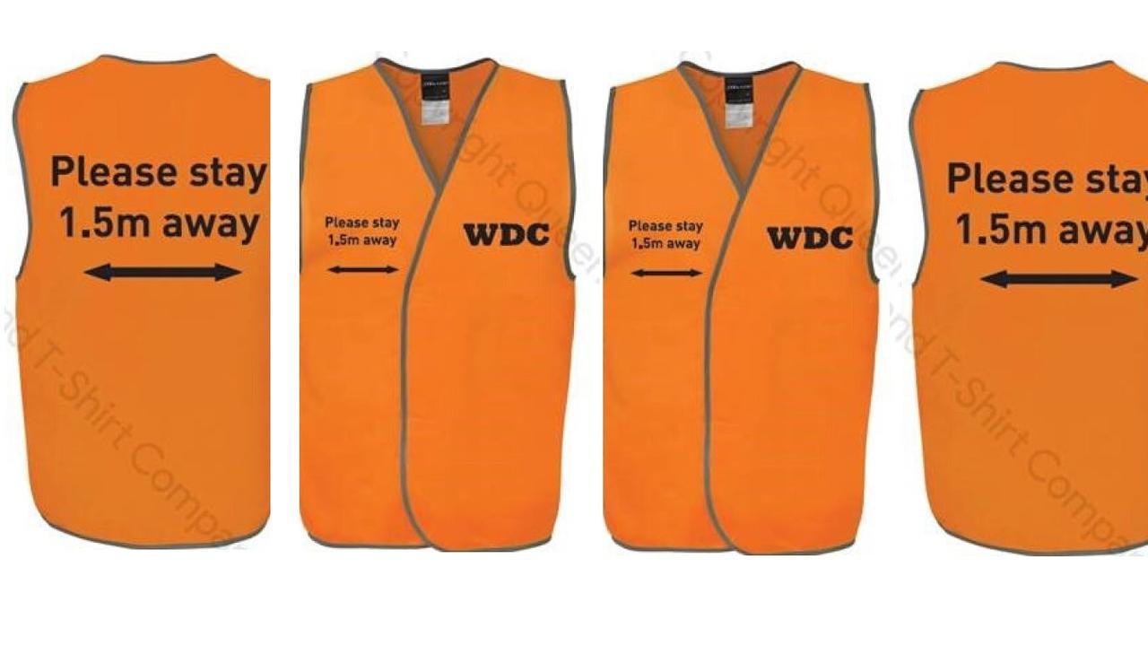 NEW MEASURES: WDC Chinchilla COVID-19 high vis vests. Pic: WDC
