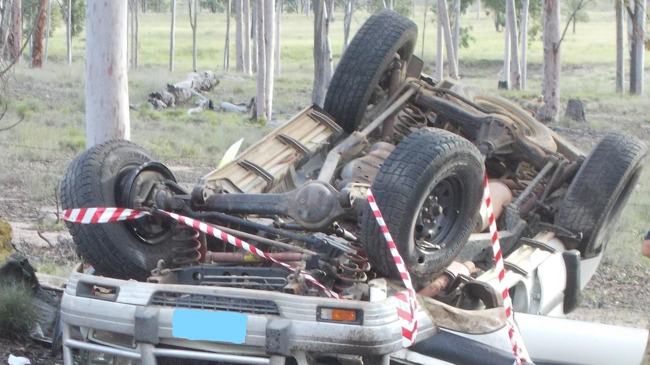 CRUMPLED WRECK: The scene of a single-vehicle rollover five kilometres outside Eidsvold on March 11. Picture: Contributed