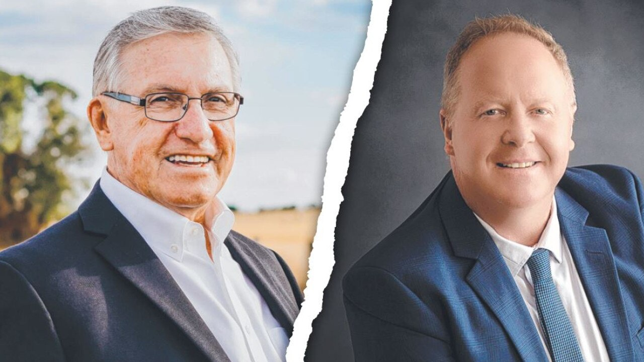 Front-running South Burnett mayoral candidates Keith Campbell and Brett Otto.
