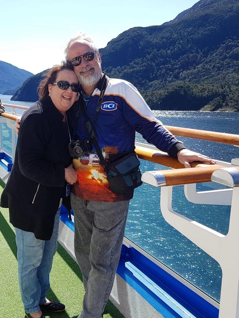 Linda Lavender with husband Stephen aboard the Ruby Princess. Picture: Supplied by family