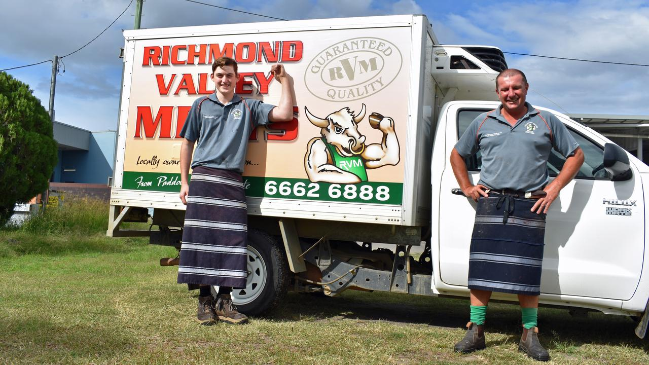 Harry Amey and Ben George of Richmond Valley Meats will be delivering to Casino in their moo van. PIC: SUSANNA FREYMARK