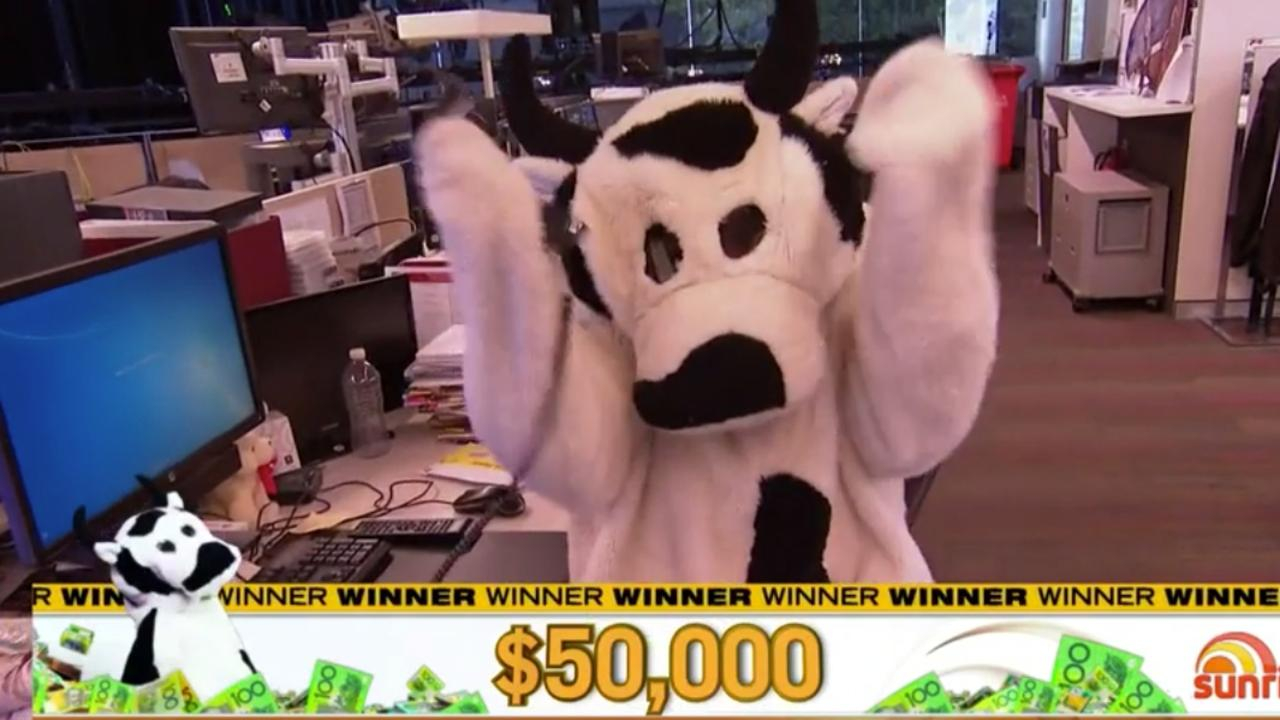 A Qantas flight hostess, who has been stood down due to COVID-19, won $50,000 on Sunrise this morning. Picture: : Channel 7