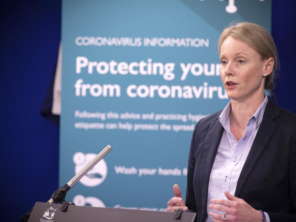 Health Minister Sarah Courtney during the COVID-19 update. Picture Chris Kidd