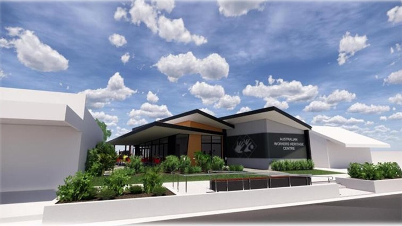 Designs of Australian Workers Heritage Centre's new entrance building in Barcaldine.