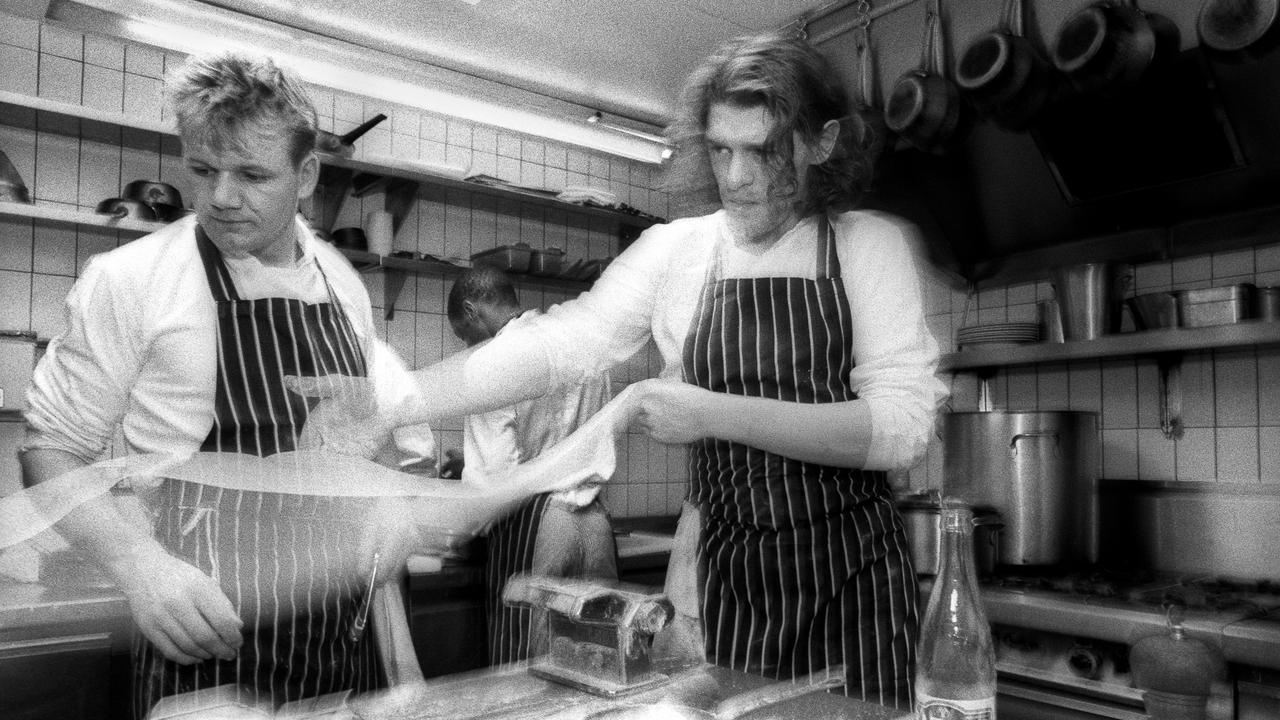 Marco Pierre White with assistant Gordon Ramsay at Harveys restaurant in 1989. Picture: Christopher Pillitz/Getty Images