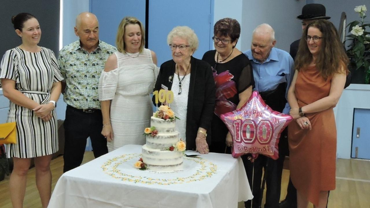 Florence Drury celebrates her 100th birthday with family from Ireland and friends from the Helensvale Probus Club which she helped establish back in 1993.