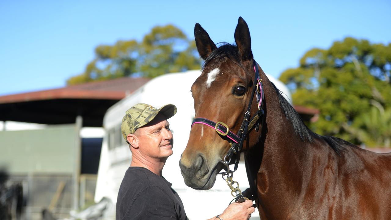 Trainer Dwayne Schmidt (picturedwith filly Fleeting Princess) was sceptical at first, but is pleased with the new addition to the stable.